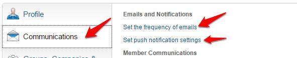 LinkedIn communications setting