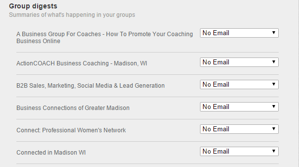 LinkedIn group digests