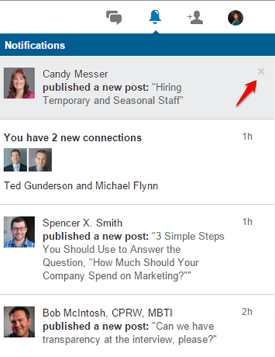 LinkedIn publishing notifications